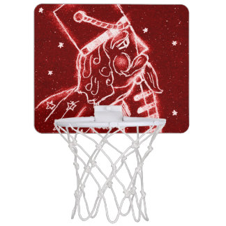 Nutcracker Toy Soldier in Bright Red Mini Basketball Hoop