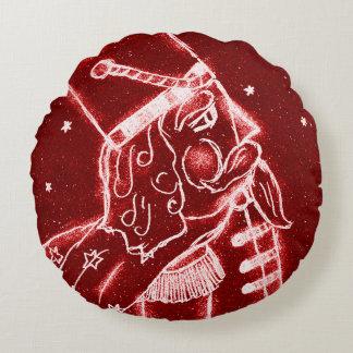 Nutcracker Toy Soldier in Bright Red Round Pillow