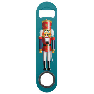Nutcracker Toy Soldiers In Red And Blue Uniforms Bar Key