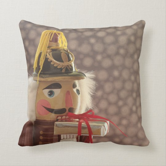 Nutcracker with silver gift throw pillow