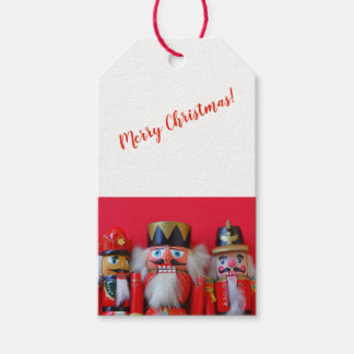 Nutcrackers in red uniforms gift tags