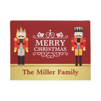 Nutcrackers Merry Christmas Red Gold Welcome Doormat