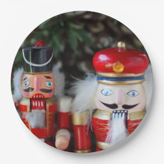 Nutcrackers with holiday background paper plate