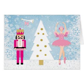 Nutcraker, Ballerina, snowflakes & Christmas tree Card