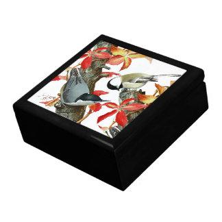 Nuthatch Bird Animal Wildlife Leaves Gift Box