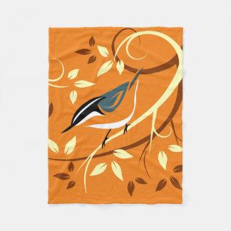 Nuthatch Bird Art Fleece Blanket