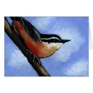NUTHATCH IN OIL PASTEL: ART: BIRD CARD