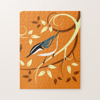 Nuthatch On Stylized Branch Puzzles