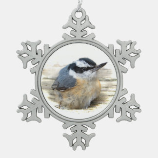 Nuthatch Pewter Snowflake Ornament