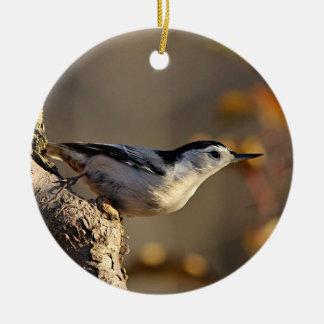 Nuthatch Round Ceramic Ornament