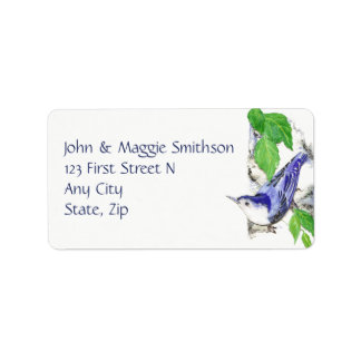Nuthatch Watercolor Bird Nature custom Address Label