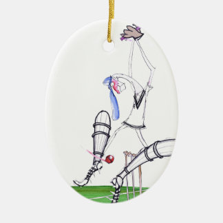 nutmeg - cricket, tony fernandes ceramic oval ornament