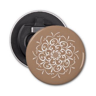 Nutmeg Mandala Button Bottle Opener
