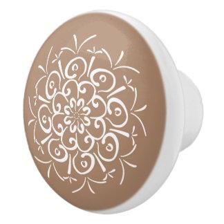 Nutmeg Mandala Ceramic Knob