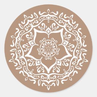 Nutmeg Mandala Classic Round Sticker