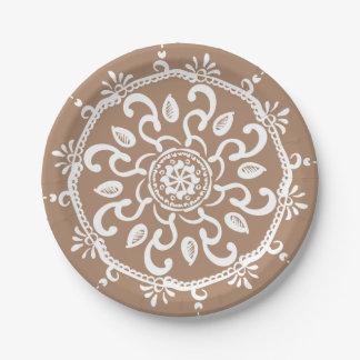 Nutmeg Mandala Paper Plate