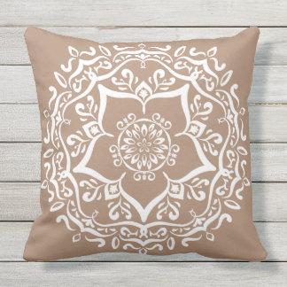 Nutmeg Mandala Throw Pillow