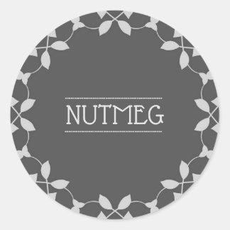 Nutmeg Spice Jar Sticker Labels