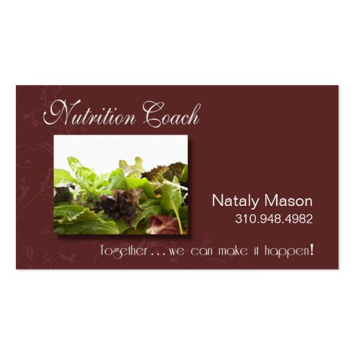 """""""Nutrition Coach"""" Healthy Eating, Weight Loss Business Card Templates"""