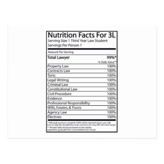 Nutrition Facts For A 3L Postcard