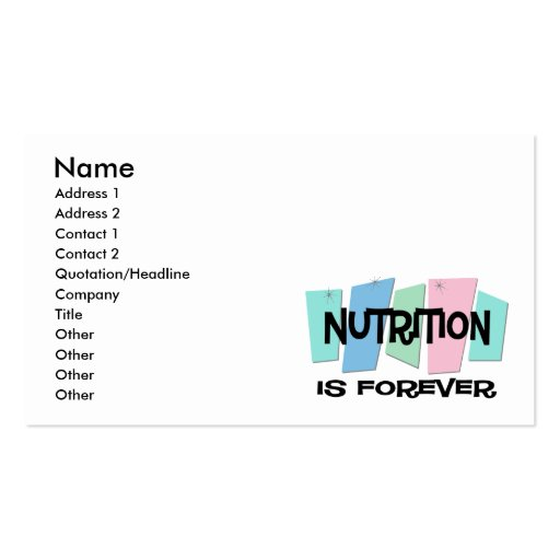 Nutrition Is Forever Business Card