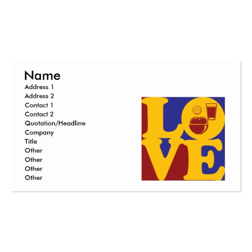 Nutrition Love Business Card Template