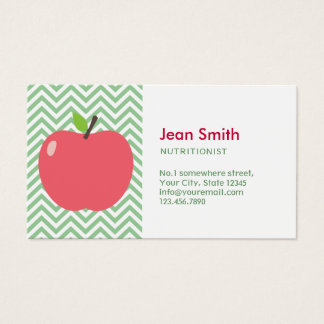Nutritionist Cute Apple Green Chevron Stripes Business Card