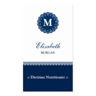 Nutritionist - Elegant Blue Lace Monogram Double-Sided Standard Business Cards (Pack Of 100)