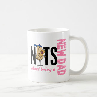 Nuts About Being A New Dad 1 (Pink) Basic White Mug