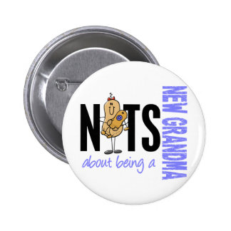 Nuts About Being A New Grandma 1 Blue 2 Inch Round Button