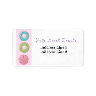 Nuts about Donuts Doughnuts Cute Artwork Sweets Label