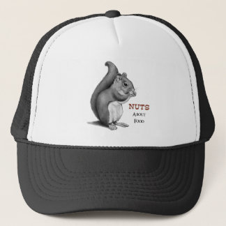 Nuts About Food: Squirrel: Pencil Drawing Trucker Hat