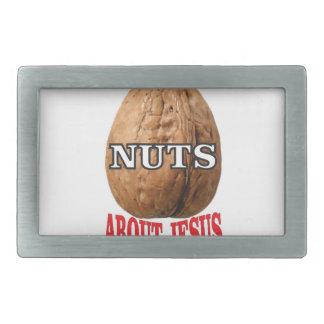 nuts about Jesus Rectangular Belt Buckles