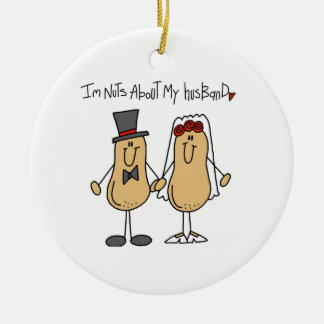 Nuts About My Husband T-shirts and Gifts Round Ceramic Ornament