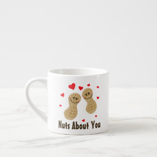 Nuts About You Cute Peanuts Food Pun Humor Cartoon Espresso Cup