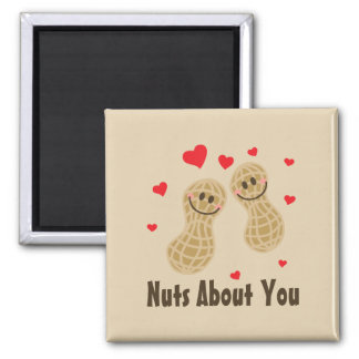 Nuts About You Cute Peanuts Food Pun Humor Cartoon Magnet
