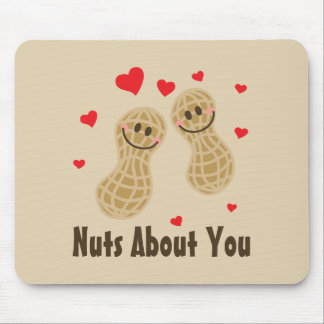 Nuts About You Cute Peanuts Food Pun Humor Cartoon Mouse Pad