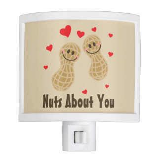 Nuts About You Cute Peanuts Food Pun Humor Cartoon Night Light