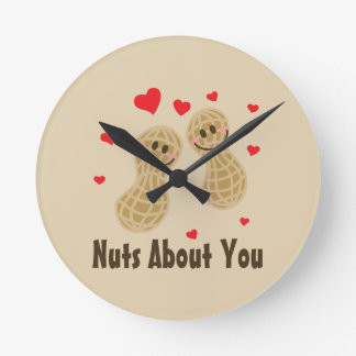 Nuts About You Cute Peanuts Food Pun Humor Cartoon Round Clock