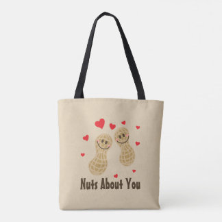 Nuts About You Cute Peanuts Food Pun Humor Cartoon Tote Bag