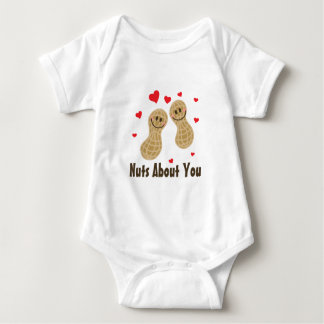Nuts About You Cute Peanuts Food Pun Humor Unisex Baby Bodysuit