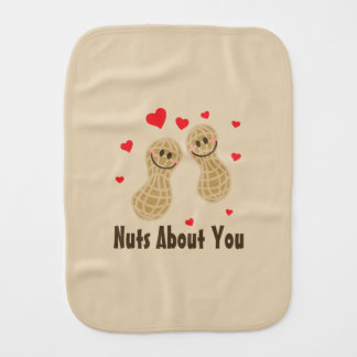 Nuts About You Cute Peanuts Food Pun Unisex Baby Burp Cloth