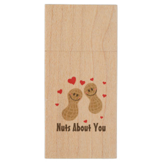 Nuts About You Cute Peanuts Funny Food Pun Humor Wood USB Flash Drive