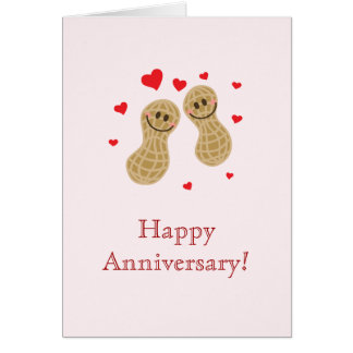 Nuts About You Cute Peanuts Happy Anniversary Card