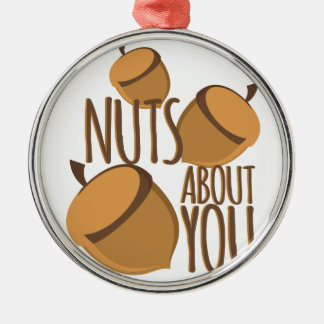 Nuts About You Silver-Colored Round Ornament