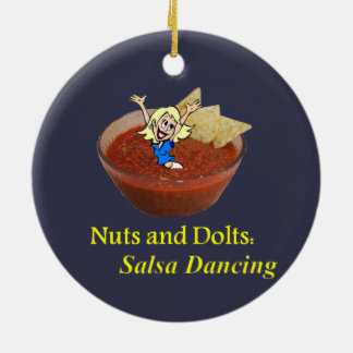 Nuts and Bolts: Salsa Dancing Round Ceramic Ornament