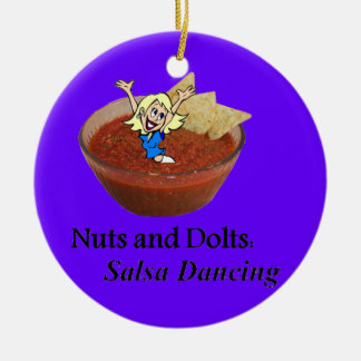 Nuts and Dolts: Salsa Dancing Round Ceramic Ornament