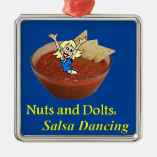 Nuts and Dolts: Salsa Dancing Silver-Colored Square Ornament
