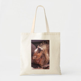 """""""Nuts to you"""" posing and smiling Squirrel Tote Bag"""