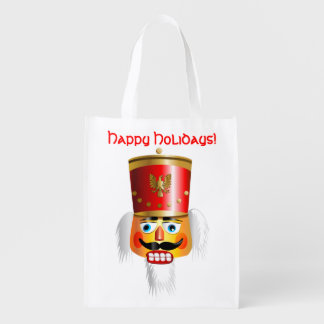 Nutty Nutcracker Toy Soldier Cartoon Reusable Grocery Bag